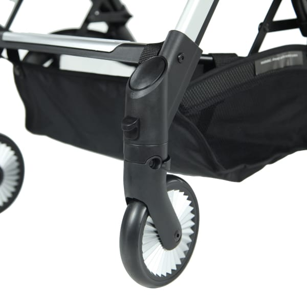 Lockable swivel front wheel with ball bearing systems for a smoother ride